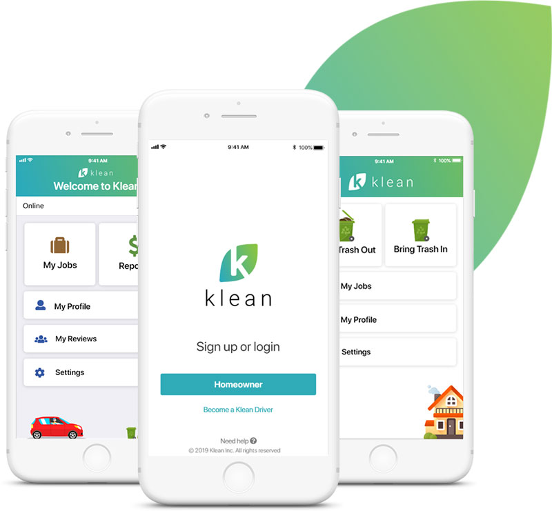 three-phones-showing-klean-app-interfaces